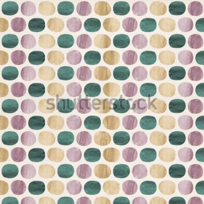 Naklejka Abstrakcjonistyczny grafika wzór kropki i owale w storczykowych purpurach, złotym kolorze żółtym i jade zieleni kształtuje akwarelę na śmietanka papierze textured papierowego tło.