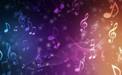 Naklejka Abstrakcjonistyczny Kolorowy muzyczny tło z notatkami
