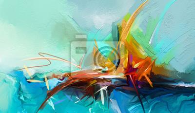 Naklejka Abstrakcjonistyczny kolorowy obraz olejny na brezentowej teksturze. Semi- abstrakcyjny obraz tła pejzaży. Obrazy olejne współczesnej sztuki z żółtym, czerwonym i niebieskim. Abstrakcyjna sztuka współc