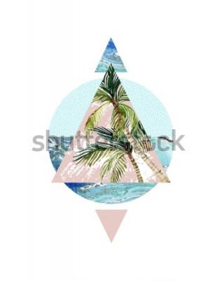 Naklejka Abstrakcjonistyczny lata tło. Trójkąt, koło, palma akwarela, liść, marmurowe tekstury grunge. Geometryczny wzór na koszulkę, ulotkę, plakat w stylu retro z lat 80-tych i 90-tych. Ręcznie malowane ilus