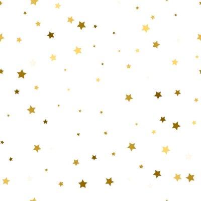 Naklejka Abstrakcyjna białego nowoczesnych wzorek bez szwu ze złotymi gwiazdami. Vector illustration.Shiny tle. Tekstura folii złota.