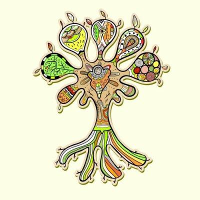 Naklejka Abstrakcyjna drzewa z ornamentami ilustracji dla twojego projektu
