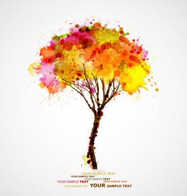 Naklejka abstrakcyjne drzewa jesienią tworzących przez plamami