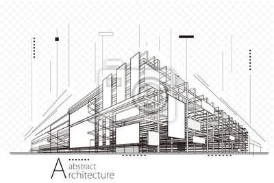 Naklejka Abstrakcyjne perspektywy budowy architektury projektowania linii sztuki tła.
