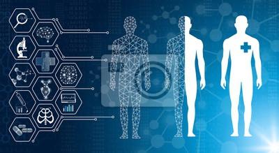 Naklejka abstrakcyjne tło technologia koncepcja w niebieskim świetle, mózgu i ludzkiego ciała leczyć, technologia nowoczesna medycyna w przyszłości i globalny międzynarodowy medyczny z testami analizy klon DNA