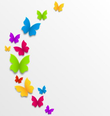 Naklejka Abstrakcyjne tło wiosna z motylami tęczy