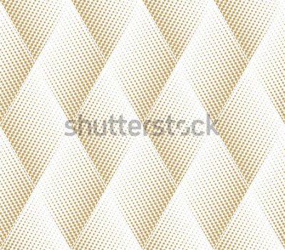 Naklejka Abstrakcyjny wzór geometryczny z punktami, rombami. Bezszwowe tło wektor Tekstura biało-złota. Nowoczesny wzór graficzny.