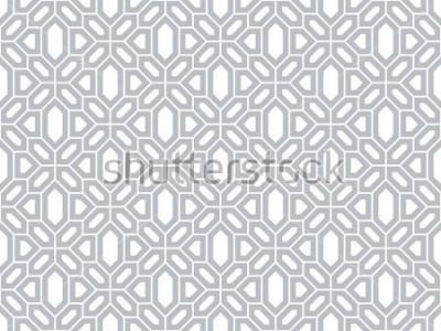 Naklejka Abstrakcyjny wzór w stylu arabskim. Dołączone tło wektor. Szara i biała tekstura. Graficzny nowoczesny wzór.