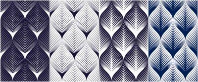 Naklejka Abstrakt wykłada geometrycznych bezszwowych wzory ustawiających, wektorowa powtórka niekończący się tkanin tła inkasowych. Kwiatowe liście lub motyw modny kształt ryby. Jeden kolor, czarny i biały.