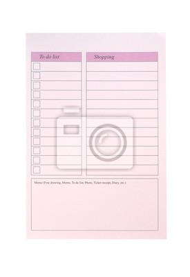 Aby zrobić listę i zakupy, różowy papier
