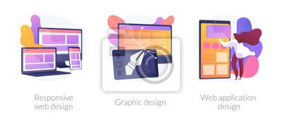 Naklejka Adaptive programming icons set. Multi device development, software engineering. Responsive web design, graphic design, web application design metaphors. Vector isolated concept metaphor illustrations