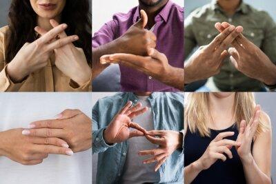 Naklejka Adults Learning Sign Language