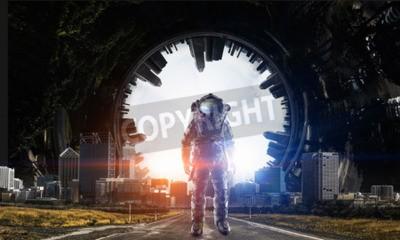 Naklejka Adventure of spaceman. Mixed media