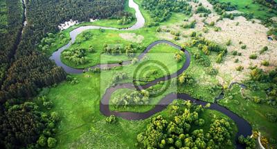Naklejka Aerial landscape - wild river in summer