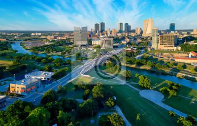 Naklejka Aerial of Downtown Fort Worth Blue Sky
