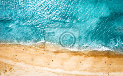 Naklejka Aerial photo of summer beach and blue ocean with sky.