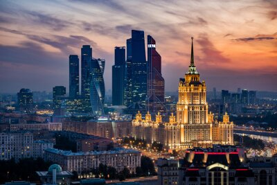 Naklejka Aerial View of Moscow City Skyline at Sunset, Moscow, Russia