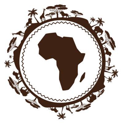 Naklejka African etniczne tło w projektowaniu płaskiej stylu.