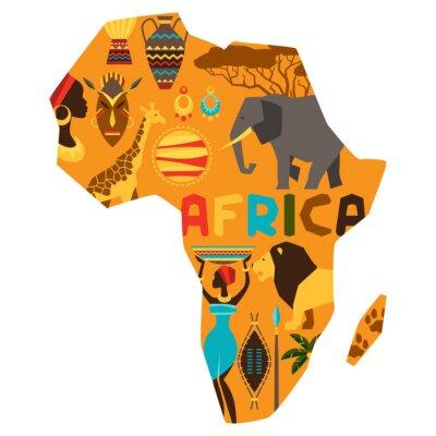 Naklejka African etniczne tło z ilustracji mapie.