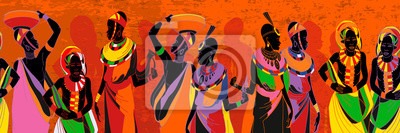Naklejka African women silhouettes in national clothes seamless pattern. People of South Africa, vector illustration. Beautiful black females