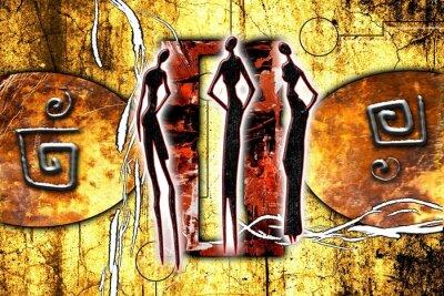 Naklejka Afrykański motyw etniczny retro