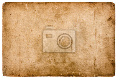 Naklejka aged stained paper sheet isolated on white background