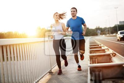 Naklejka Aktywny para jogging