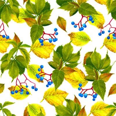 Akwarela, atramentu bezszwowy wzór z winogronami i jesień liśćmi
