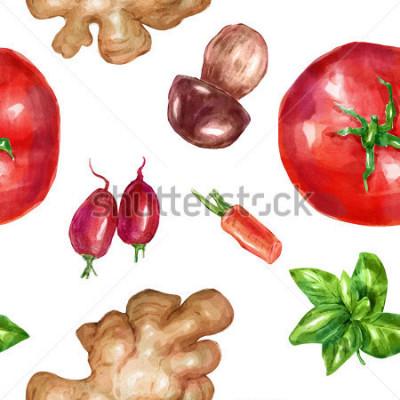 Naklejka Akwarela bez wzoru, wzór warzywa mięta biały grzyb pomidor imbir. Duży zbiór sporządzonych ilustracji. Dobry dla ilustracji książki, czasopisma lub czasopisma.