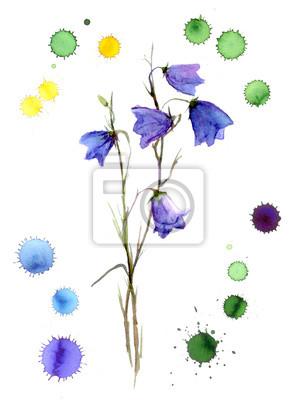 Akwarela błękitna kwiat z kolorowych plam graficznych