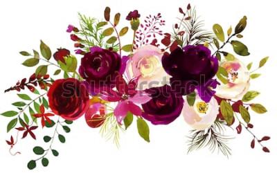 Naklejka Akwarela Boho Burgundii czerwony magenta biały różowy kwiatowy bukiet kwiatów i piór na białym tle.