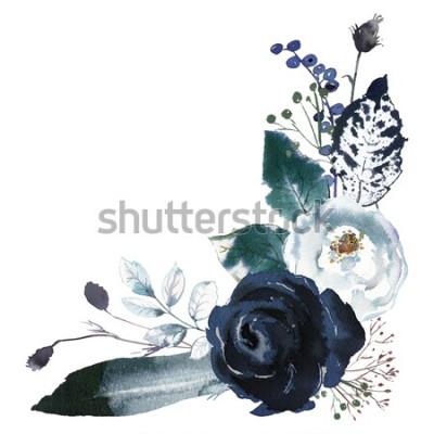 Naklejka Akwarela bukiet kwiatowy róże piwonie pozostawia Boho biały szary indygo niebieski granatowy na białym tle