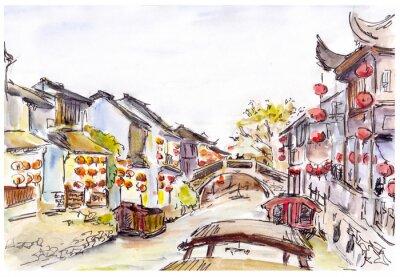Akwarela - Canal wody w Starym Mieście w Chinach. Czerwone latarnie.