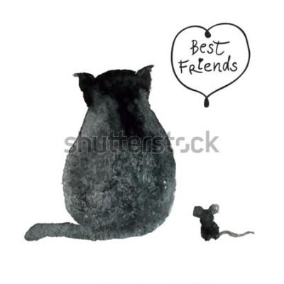 Naklejka Akwarela czarny kot z myszą. Najlepsi przyjaciele. Śmieszna ilustracja
