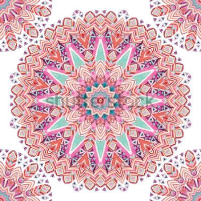 Naklejka Akwarela etniczne ozdobne pióra streszczenie mandali wzór. Koronkowy wzór z plemiennymi piórkami, geometryczny wzór na białym tle. Ręcznie malowana ilustracja boho, autentyczny design