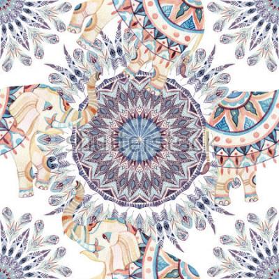 Naklejka Akwarela etniczne słonia i pióro mandali tło. Abstrakta piórkowy mandala dostępny wzór z ozdobnymi indyjskimi słoniami na białym tle. Ręcznie malowane ilustracje boho, tribal design