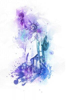 Naklejka Akwarela farby efekt Statuy Wolności