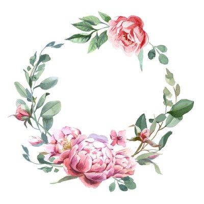 Naklejka Akwarela frae piwonii i kwiatów blosom izolować na białym tle na ślub, zaproszenia, kartki walentynkowe i grafiki
