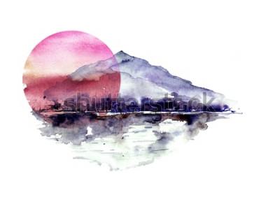 Naklejka Akwarela górski krajobraz, niebieski, fioletowe góry, szczyt, sylwetka lasu, odbicie w rzece, czerwone słońce zachód słońca. Na białym tle odizolowane. Na białym tle odizolowane.