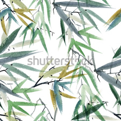 Naklejka Akwarela i atramentowa ilustracja bambusa w stylu sumi-e, u-sin. Orientalne malarstwo tradycyjne. Wzór.