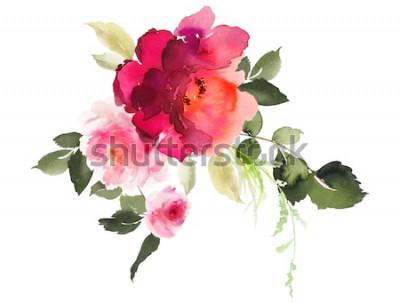Naklejka Akwarela ilustracja kwiaty. Czuły bukiet na białym tle.