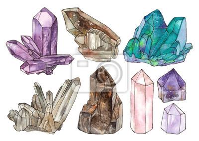 Naklejka akwarela ilustracje kryształy i kamienie szlachetne. ręcznie malowane pojedyncze elementy.