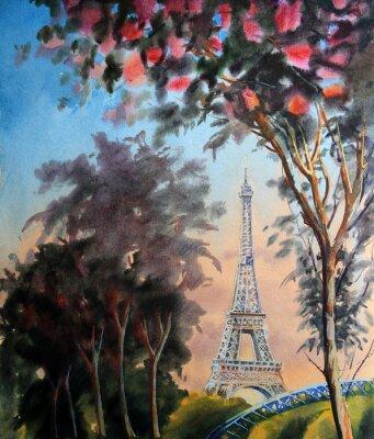 Naklejka Akwarela krajobraz z wieży Eiffla i kwitnący wiosną drzewo w Paryżu