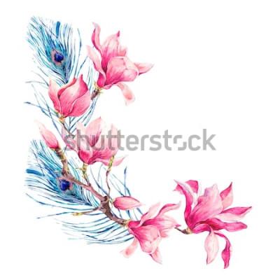 Naklejka Akwarela kwiatowy wiosna kartkę z życzeniami, Vintage kwiaty bukiet, magnolia, gałązki, liście i pawim piórem, botaniczna ilustracja akwarela na białym tle