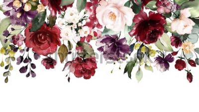 Naklejka akwarela kwiaty. ilustracja kwiatowa, liść i pąki. Kompozycja botaniczna na ślub lub kartkę z życzeniami. Granica, gałąź kwiatów - róże abstrakcji