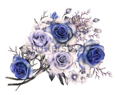 Naklejka akwarela kwiaty. ilustracja kwiatowa w pastelowych kolorach, niebieska róża. bukiet kwiatów na białym tle. zioła, liście i pąki. Ładny skład na ślub, kartkę z życzeniami. romantyczny bukiet