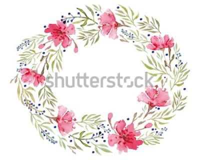 Naklejka Akwarela kwiaty. Tło z kwiecistymi ornamentami. Ślub tło. Wykonany ręcznie. Postać.