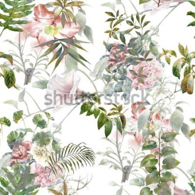Naklejka Akwarela liść i kwiaty, bezszwowy wzór na białym tle