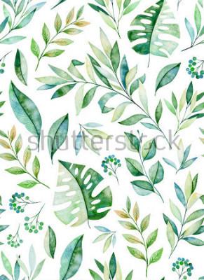 Naklejka Akwarela liści oddziału wzór na białym tle. Tekstury z dużych, gałęzi, liści, liści tropikalnych, liści.Perfect na ślub, projekt okładki, tapety, wzory, opakowania itp