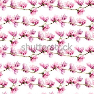 Naklejka Akwarela magnolii i pozostawia duży wzór. Ręcznie malowane kwiaty i zielone liście na gałęzi na białym tle. Kwiatowa ilustracja do projektowania, drukowania, tkaniny lub tła